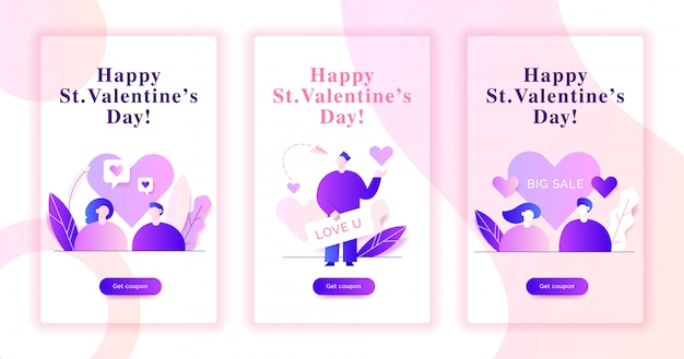 Illustrazioni di banner web di san valentino Vettore Premium