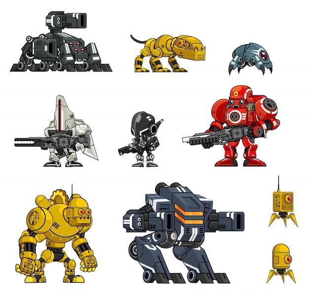 Illustrazioni di carattere robot Vettore Premium