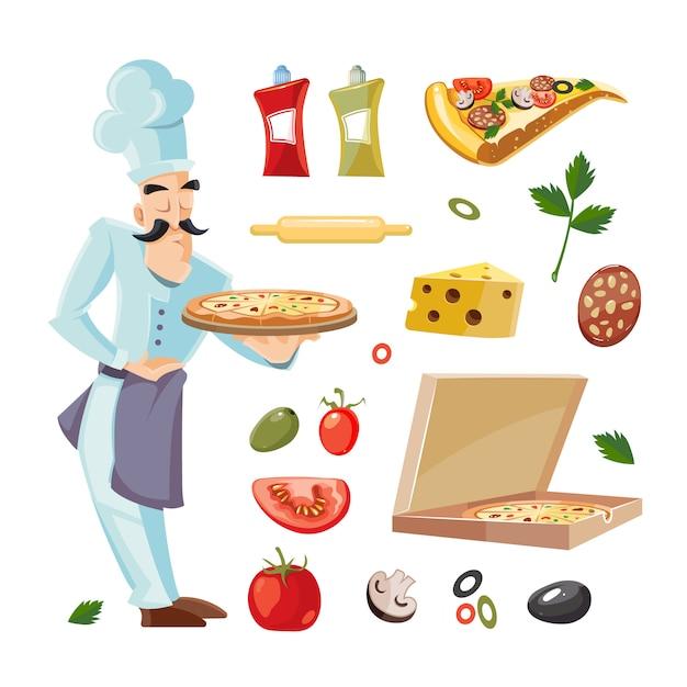 Illustrazioni di cartone animato con ingredienti della pizza Vettore Premium