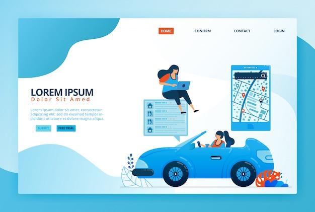 Illustrazioni di cartoni animati per la lettura delle indicazioni di navigazione mobile nelle app delle mappe. trova posizioni in base a sondaggi, valutazioni e livelli di soddisfazione. Vettore Premium