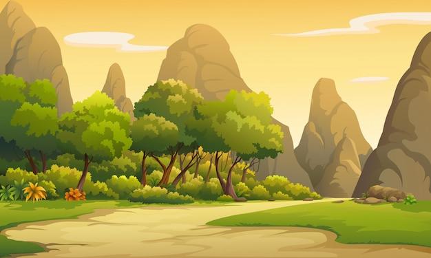Illustrazioni di natura al tramonto Vettore Premium