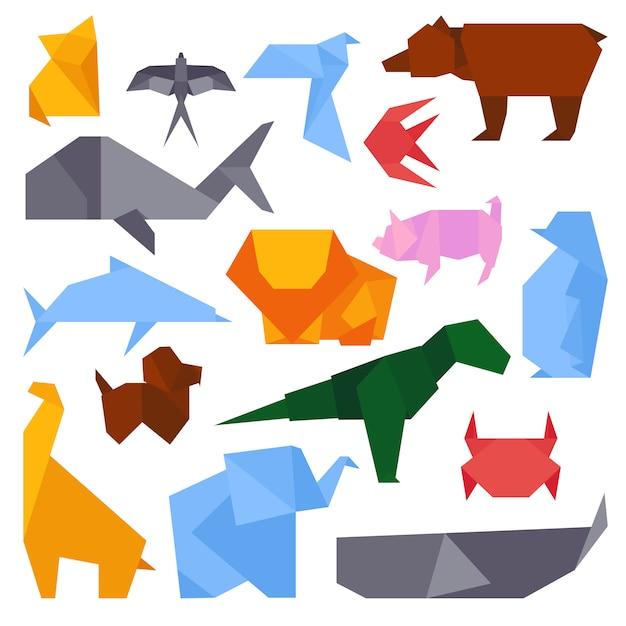 Illustrazioni di stile di origami del vettore di diversi animali. cultura fatta a mano dell'icona grafica asiatica di concetto di arte. gru geometrica del giocattolo tradizionale creativo del giappone. Vettore Premium