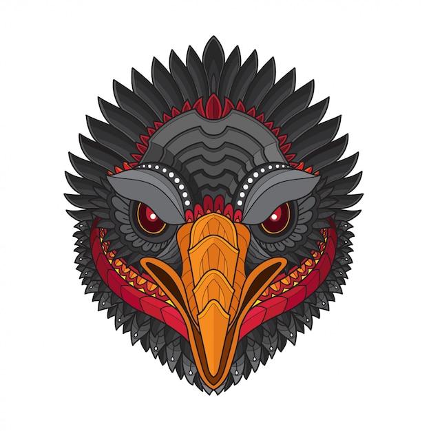 Illustrazioni di testa-vettoriale di uccello stilizzato avvoltoio zentangle Vettore Premium
