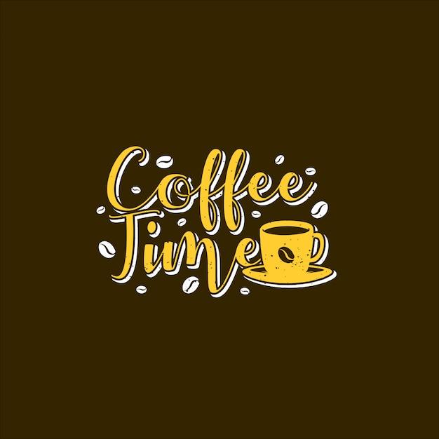 Illustrazioni di tipografia di tempo caffè Vettore Premium