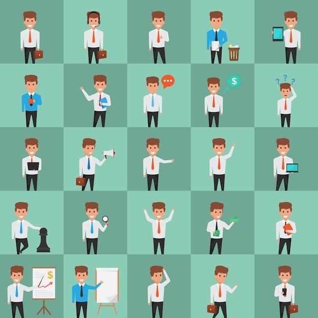 Illustrazioni disegnate creativamente del carattere dell'ufficio Vettore Premium