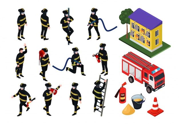 Illustrazioni isometriche del pompiere, la gente del fumetto 3d in uniforme con l'insieme dell'attrezzatura antincendio del tubo flessibile isolato su bianco Vettore Premium