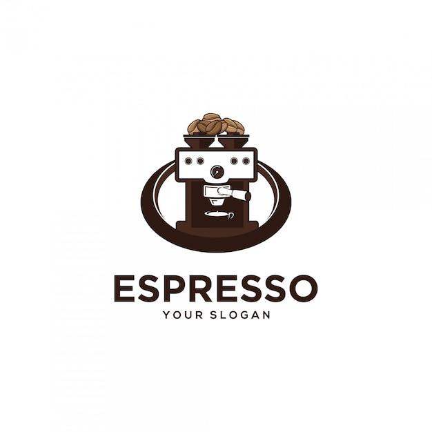 Illustrazioni logo macchina per caffè espresso Vettore Premium