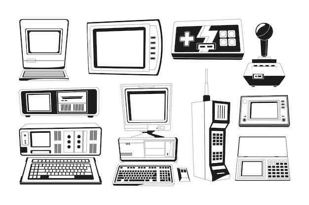 Illustrazioni monocromatiche di gadget tecnici Vettore Premium