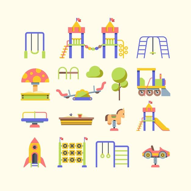 Illustrazioni piane di vettore dell'attrezzatura del campo da giuoco del bambino messe Vettore Premium