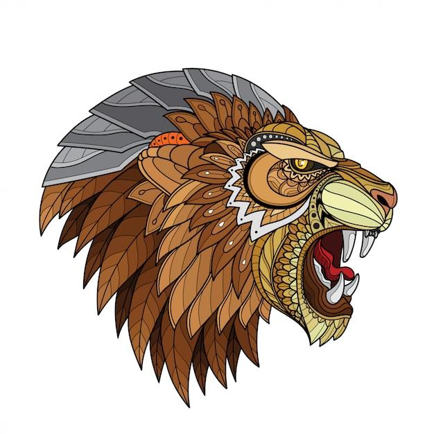 Illustrazioni stilizzate di testa-vettoriali di leone zentangle Vettore Premium