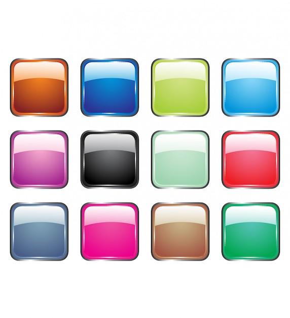 Illustrazioni vettoriali di pulsanti di vetro lucido per icone. Vettore Premium