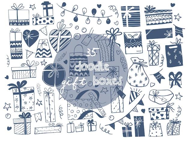 Illustrazioni vettoriali disegnati a mano di scatole regalo. stile schizzo scarabocchio Vettore Premium