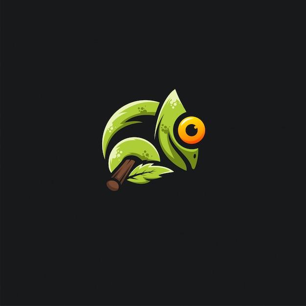 Ilustration del disegno del camaleonte verde Vettore Premium