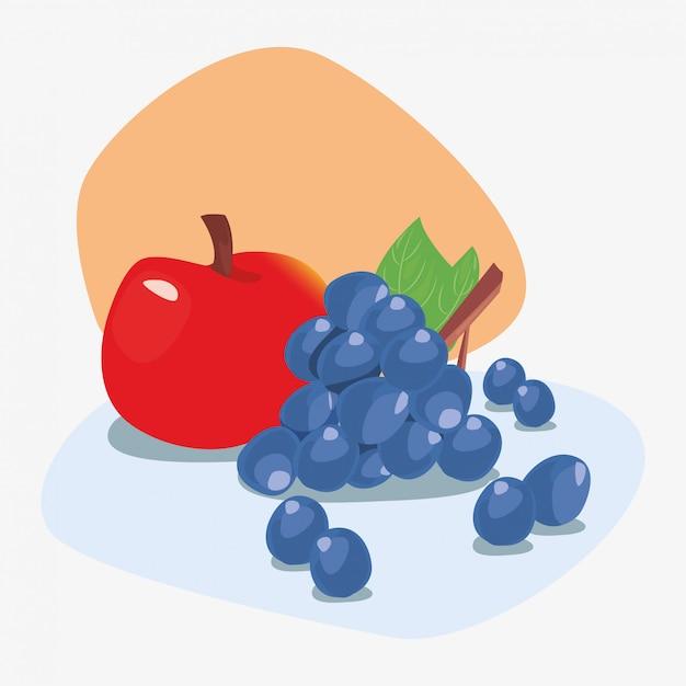 Ilustration delizioso fresco di nutrizione della frutta della mela e dell'uva Vettore Premium