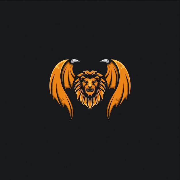 Ilustration di disegno della testa e dell'ala del leone Vettore Premium
