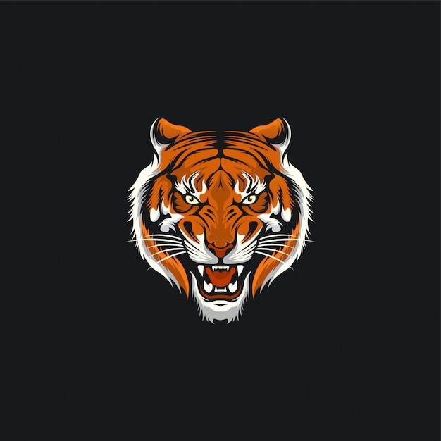Ilustration di progettazione del fronte della tigre Vettore Premium