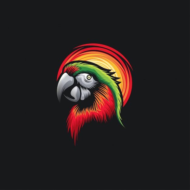 Ilustration di progettazione della testa del pappagallo Vettore Premium