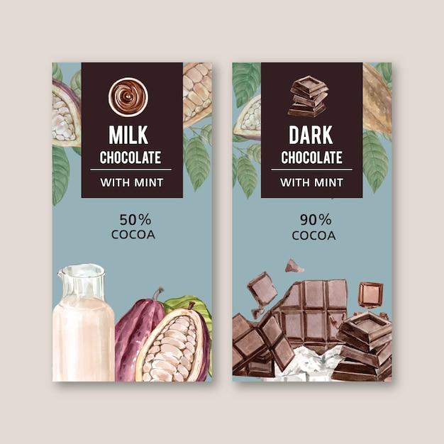 Imballaggio del cioccolato con gli ingredienti ramo di cacao, illustrazione dell'acquerello Vettore gratuito