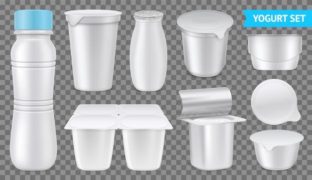 Imballaggio in bianco bianco stabilito trasparente trasparente isolato del yogurt realistico dell'illustrazione bevibile e densa di vettore del yogurt Vettore gratuito