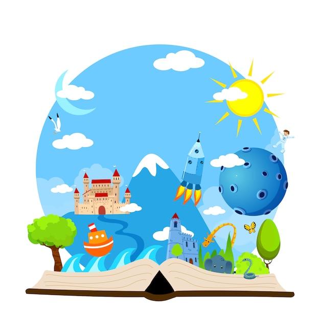 Immaginazione libro aperto con castello, alberi, animali, sole, luna, astronauta, barca, illustrazione del mare Vettore Premium
