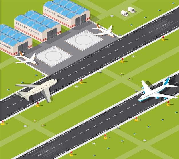 Immagine con i piani immagine e la pista dell'aeroporto Vettore Premium