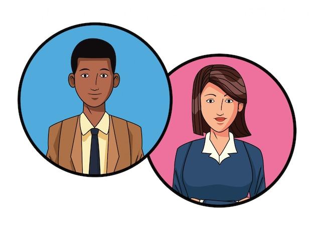 Immagine del profilo avatar coppia di affari in tondo Vettore Premium