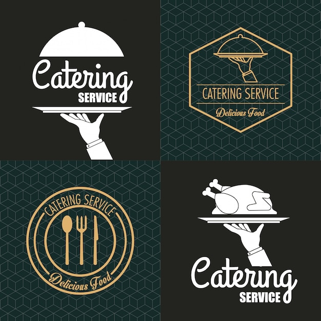 Immagine dell'emblema del servizio di ristorazione Vettore Premium