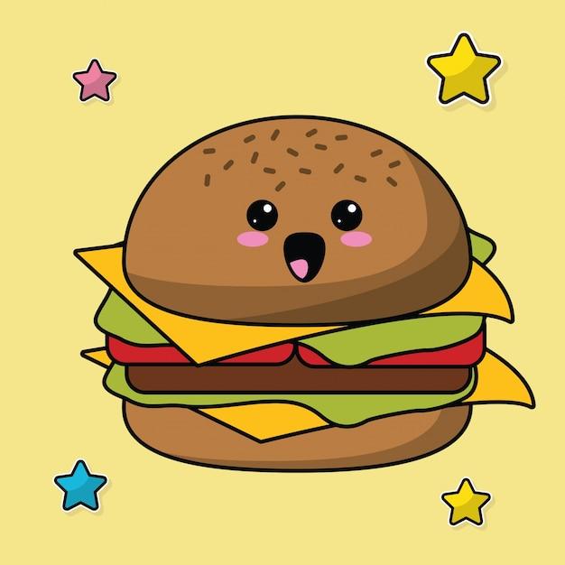 Immagine Di Cibo Hamburger Kawaii Scaricare Vettori Premium