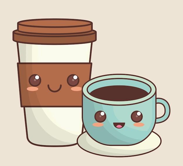 Immagine Di Icona Di Cibo Kawaii Di Caffe Scaricare Vettori Premium