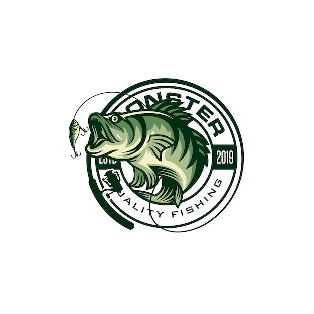 Immagine di logo di pesca d'epoca Vettore Premium