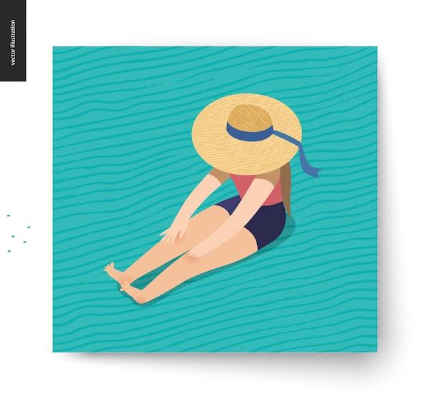 Immagine di pic-nic - illustrazione di vettore del fumetto piatto della ragazza che si siede sul pavimento con un cappello di spiaggia del nastro sul nascondere il viso Vettore Premium