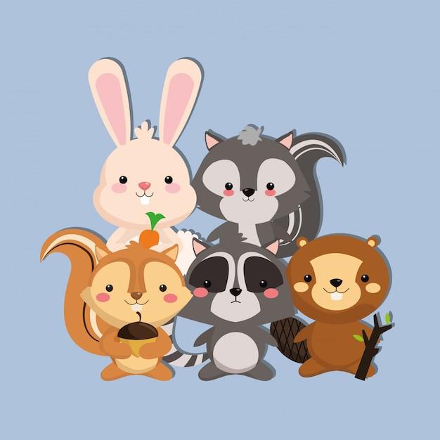 Immagine di racoon e castoro scoiattolo coniglio carino skunk Vettore Premium