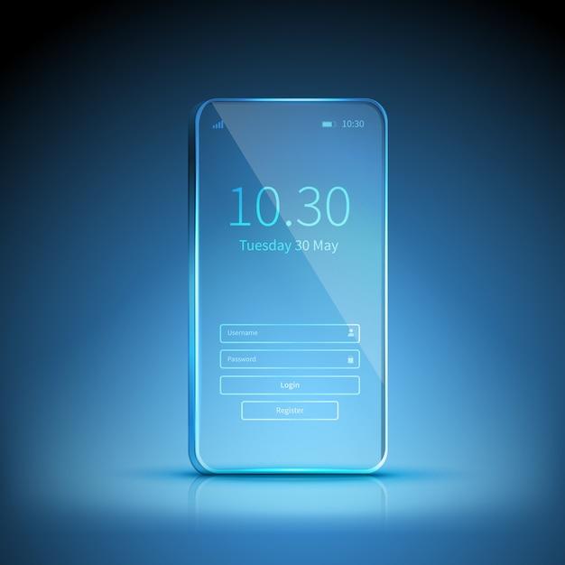 Immagine di smartphone trasparente Vettore gratuito