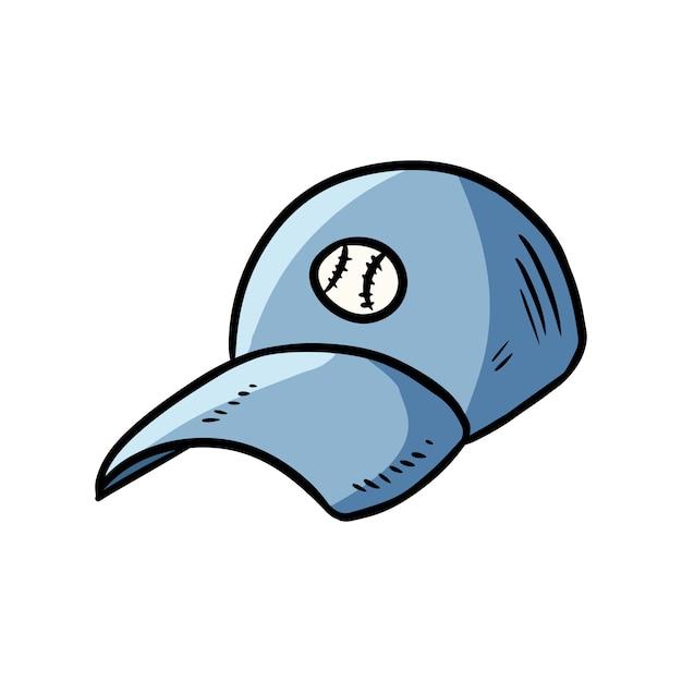 Immagine disegnata a mano di doodle del fumetto del berretto da baseball Vettore Premium