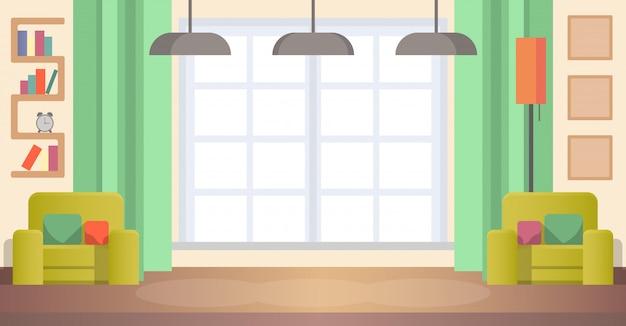 Immagine living room at home. interno accogliente Vettore Premium