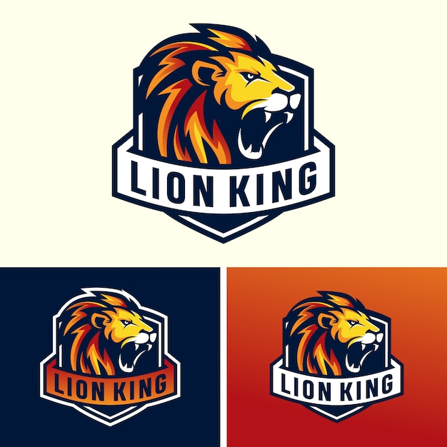 Immagine logo lions head sport Vettore Premium