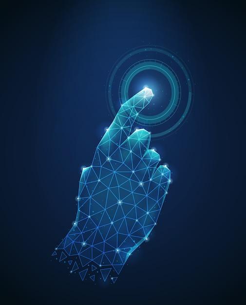 Immagine poligonale del wireframe del tocco umano della mano all'illustrazione di vettore dell'estratto dell'esposizione elettronica Vettore gratuito