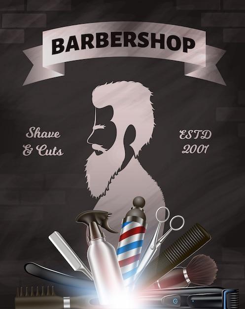 Immagine pubblicitaria del barbiere. set di strumenti per il barbiere. silhouette uomo con barba Vettore Premium