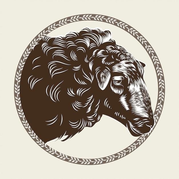 Immagine vettoriale della testa di una pecora nello stile dell'incisione. Vettore Premium