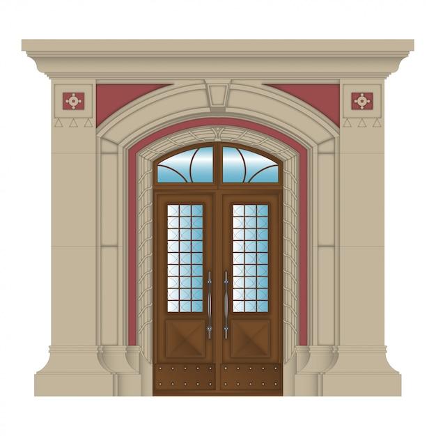 Immagine vettoriale, ingresso di pietra della casa Vettore Premium