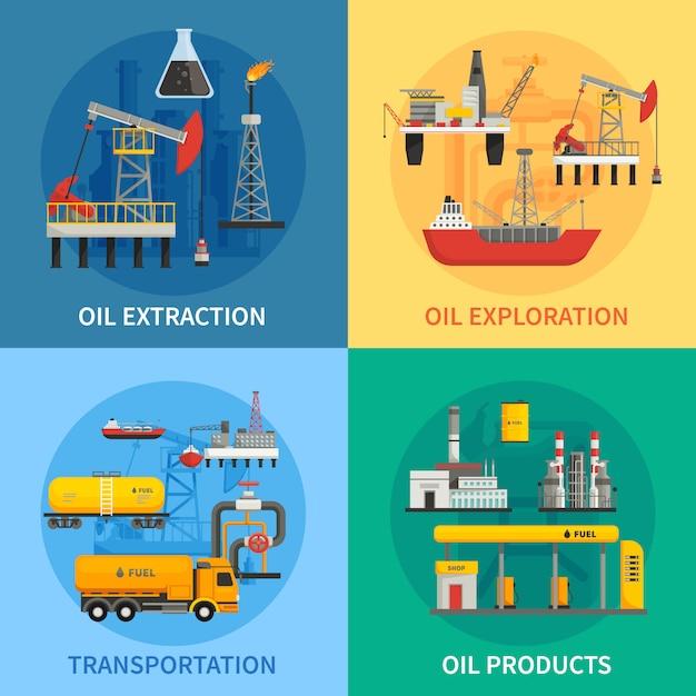 Immagini 2x2 piatte che presentano prodotti per il trasporto di estrazione di esplorazione petrolifera dell'industria petrolifera ve Vettore gratuito
