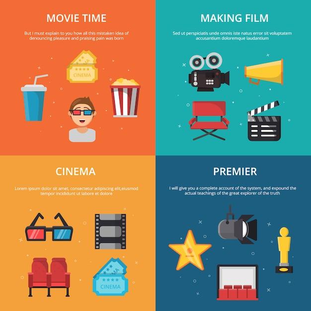 Immagini di concetto con i simboli della produzione dello show televisivo. Vettore Premium