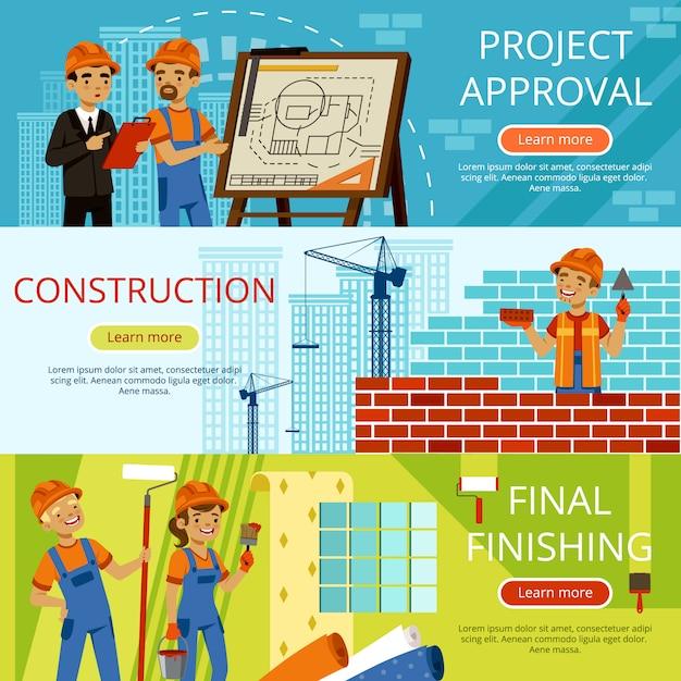 Immagini di concetto di passaggi di costruzione Vettore Premium