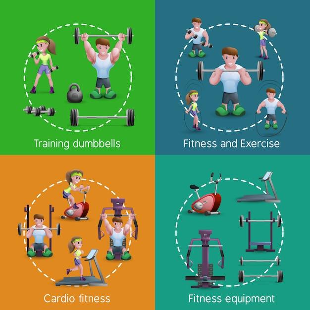 Immagini di fitness Vettore Premium