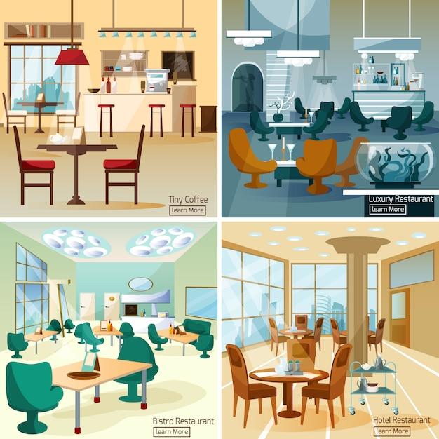 Immagini vettoriali di bar ristorante Vettore Premium