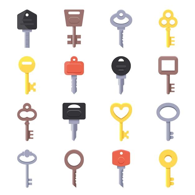Immagini vettoriali di chiavi per porte Vettore Premium