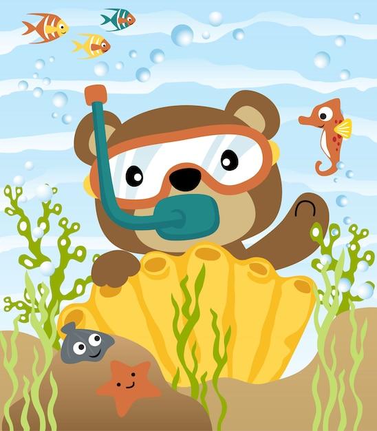 Immersioni con cartone animato divertente orso Vettore Premium