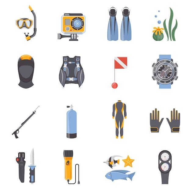 Immersioni e snorkeling icone decorative piatte Vettore gratuito