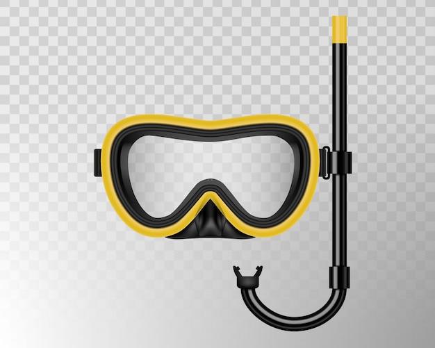 Immersioni subacquee, maschera da nuoto con boccaglio Vettore Premium