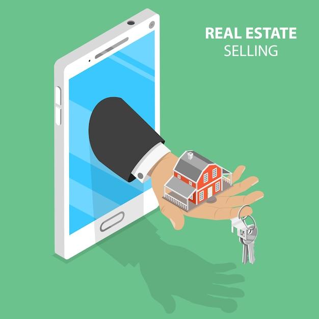 Immobiliare online che vende concetto isometrico. Vettore Premium